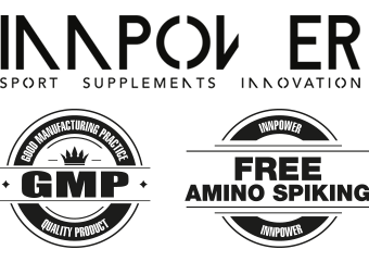 Logotipo de Innpower con el sello GMP, good manufacturing practice y el sello de free amino spiking