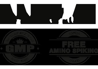 Logotipo de Innpower con el sello GMP, good manufacturing practice y el sello de free amino spiking