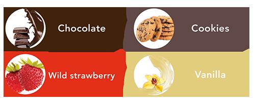 Sabor chocolate, vainilla,. cookies y fresa