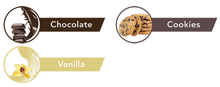 Sabor chocolate, vainilla y cookies