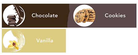 Sabor chocolate, vainilla y cookies